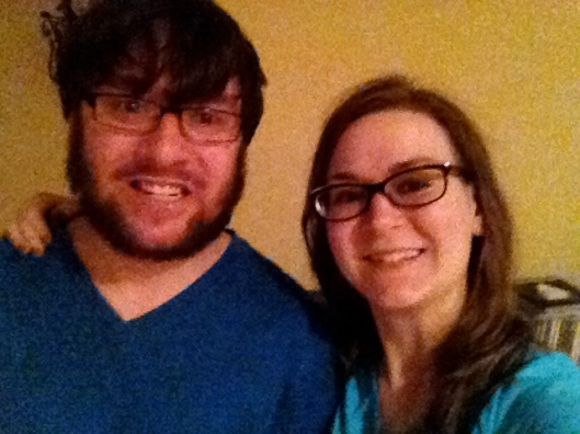 My brother and I had our own little slumber party the night before the wedding. Coincidentally, we matched in our blue v-necks.