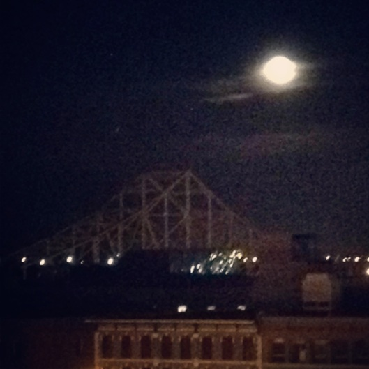 The moon was out, and it was two days after our six month anniversary. We had a lovely setting in St. Louis.
